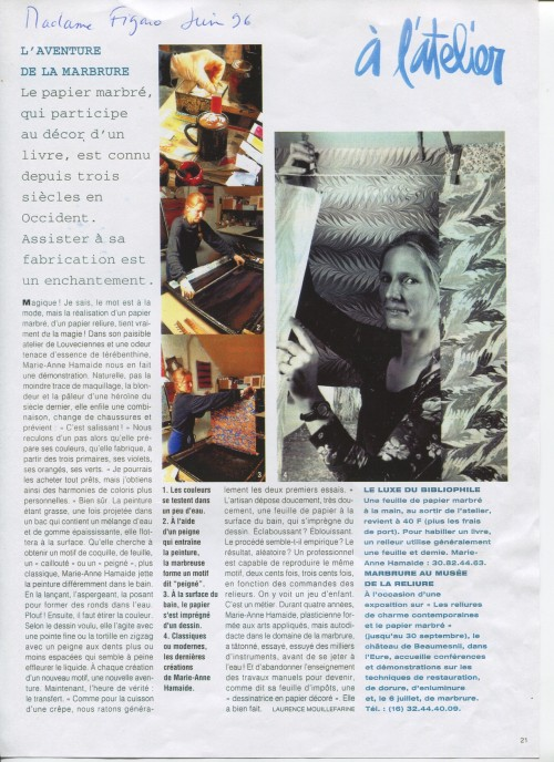 Article Mme Figaro 1996